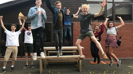Honiton Community College sixth formers celebrating their A-Level results. Picture: Honiton Communit