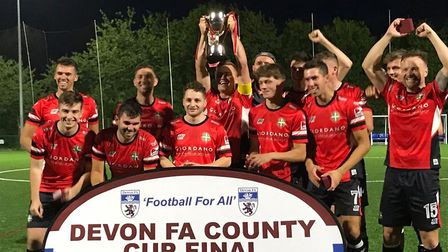 Farway United after their Devon Intermediate Cup win at Coach Road, Newton Abbot. Picture: CONTRIBUT