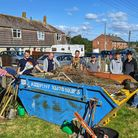 Volunteers clearing the communal garden area at Millwey Rise, Axminster. Picture: supplied