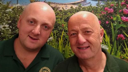 Nigel and Ashley Ball after their head shaves. Picture supplied