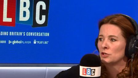 Conservative candidate for Chichester, Gillian Keegan, being interviewed by Ian Dale on LBC radio. P
