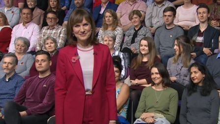 Fiona Bruce on BBC Question Time. Photograph: BBC.