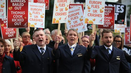 Former Thomas Cook cabin crew protesting outside Conservative Party Conference. Photograph: Peter By