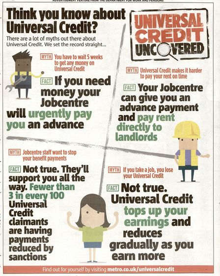 Undated handout photo issued by the ASA of a Department for Work and Pensions (DWP) ad aiming to dis