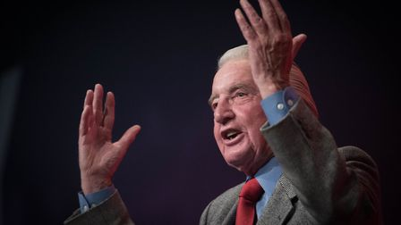 Dennis Skinner addressing the Labour Party annual conference at the Brighton Centre. Photograph: Ste