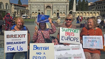 British expats who live in Italy protesting against Brexit in Florence. Picture: Arj Singh/PA Archiv