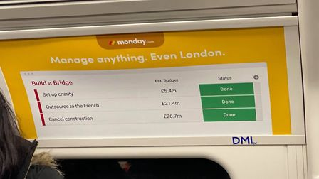 The Monday.com tube advert that has trolled Boris Johnson over his wasted efforts on the Garden Brid