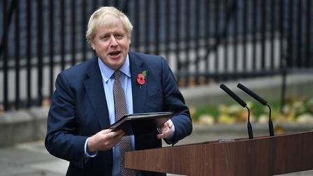 Prime Minister Boris Johnson gives speech in London's Downing Street after an audience with Queen El
