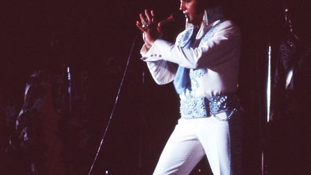 Elvis Presley in Las Vegas during a concert in December of 1975. Photo: Michael Ochs Archives/Getty