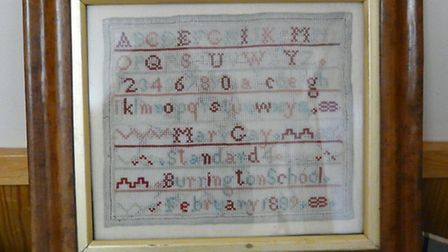 The 125-year-old cross-stitch sampler was bought by Burringtom Primary School on eBay.