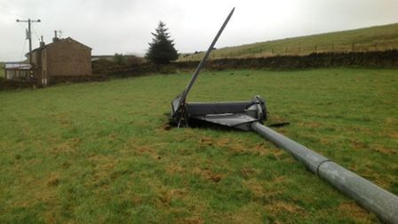 The home of the Beckett family in West Yorkshire, whose wind turbine also toppled over in November.