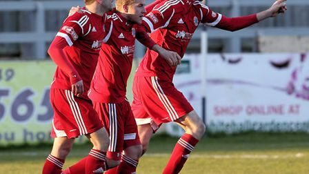 Bideford celebrate during the 7-1 goal-fest at Chippenham Town on Saturday. Pic by Richard Chappell