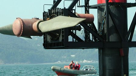 The Seaflow tidal generator prototype off the coast off Lynmouth.