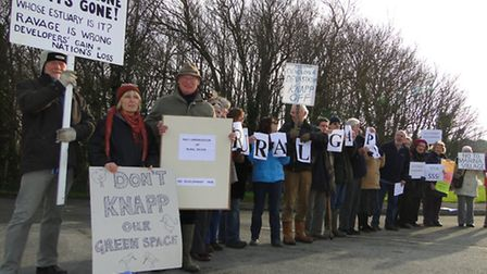 Protesters gathered outside Knapp House today ahead of tomorrow's planning meeting.
