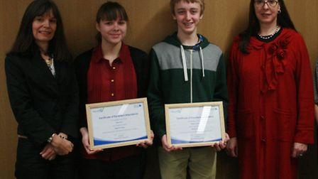 Beverley Dubash, Devon County Council chief attendance officer; students Sarah Short and Bradley Clo