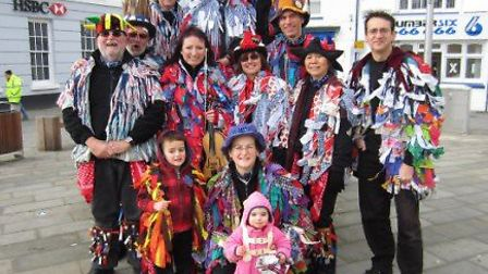 Thanks for your support: Members of the Bideford Phoenix Morris are pictured in Bideford's Jubilee S