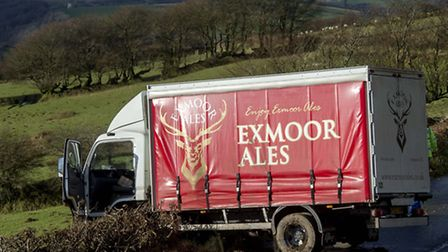 The lorry found itself in a precarious position after skidding on the ice. Photo: Guy Harrop.