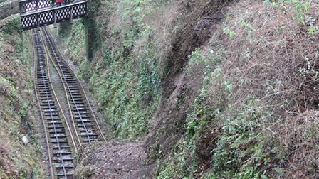 The land slip at Lynton and Lynmouth Cliff Railway. Picture: John McGowan.