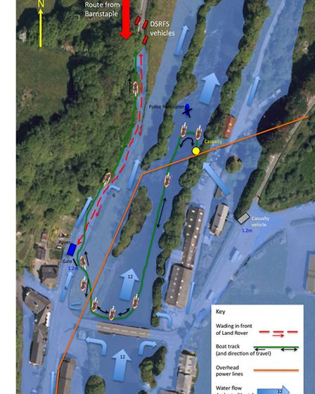 A diagram of the rescue on the night of December 23, which shows the extent of the flooding and the