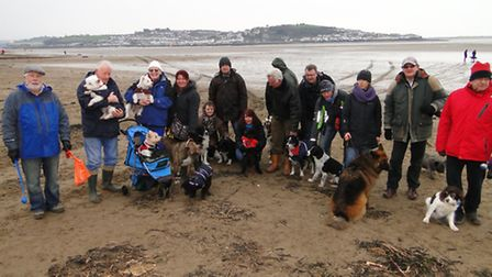 Dog walkers gather on Instow Beach to make their feelings known.