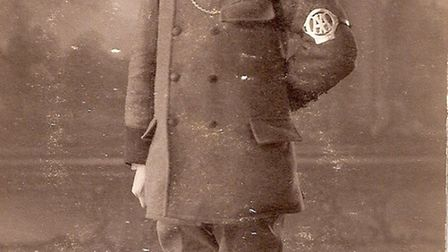 This old black and white photograph of an AA patrolman, marked with the name Francis Shattock on the