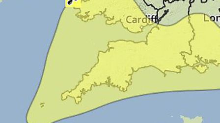 The weather warning on Friday.