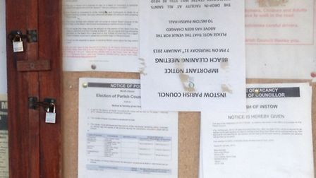 Please stand on head: 'Topsy turvy information' on Instow notice board today.