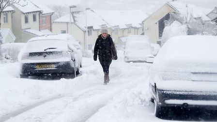 Overnight snowfall proves hazardous for walkers in Bratton Fleming, Pic by Guy Harrop
