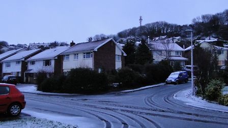 The snow in Braunton this morning.