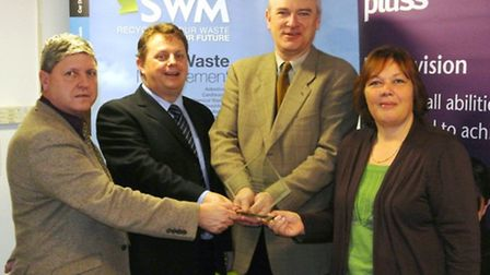 From left: SWM directors Raymond Penfold and Shawn Akers, are pictured with North Devon MP Nick Harv