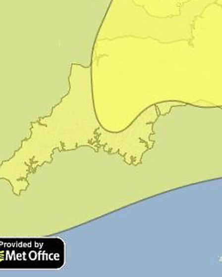 A yellow warning for snow and ice covers North Devon on Tuesday.