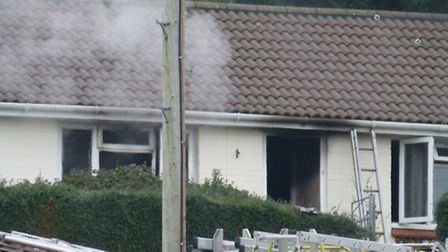 The bungalow in Bingham Crescent was badly damaged by smoke and flames. Pic by Nicola Clement