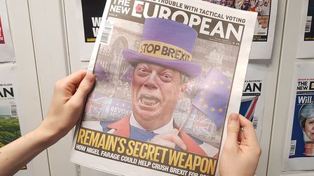 Remain's secret weapon? Nigel Farage pictured on the front of The New European. Photograph: Jonathon