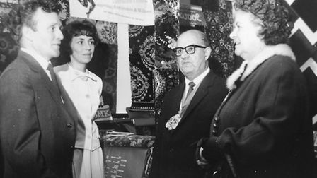 Laurie and Peggy Harvey at Barnstaple's Ideal Home Exhibition in the mid 1960s with Mayor and Mayore