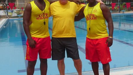 North Devon surf lifesaver Gwyn Lewis is pictured with Ghanaian lifeguards Eric Hector (left) and Ra