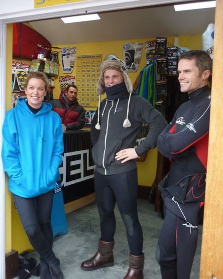 This Morning presenter Jeff Brazier at North Devon Surf School with Downsize the Family nutritionist