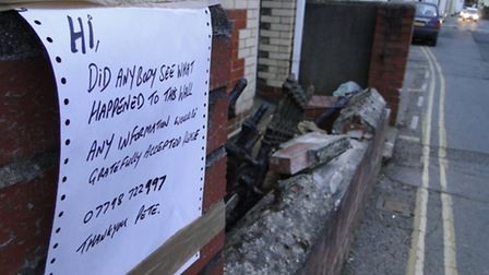 The damage to the wall in South Street, Braunton.