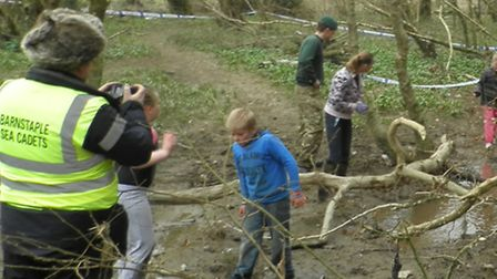 Youngsters take part in the Frankmarsh Commando Challenge on Sunday.