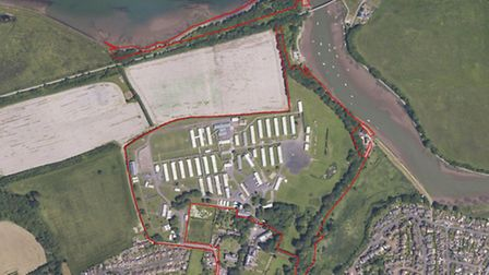 An aerial shot of Fremington Army Camp, the site of a proposed development for 277 homes.
