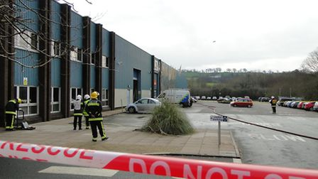 Fire crews were called to reports of a gas leak in Whiddon Valley Industrial Estate