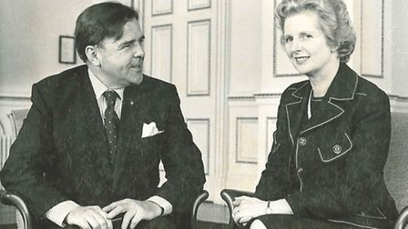 Tony Speller is congratulated by Prime Minister Margaret Thatcher after winning North Devon for the