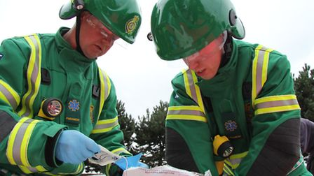 A South Western Ambulance Service crew at work. Picture: David Rogers.