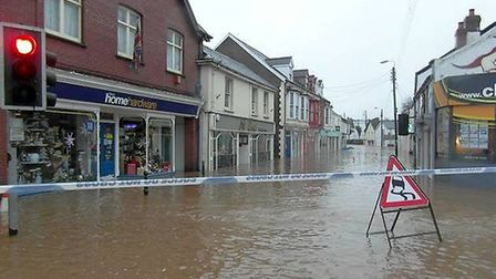 A scene from December's floods in the centre of Braunton.
