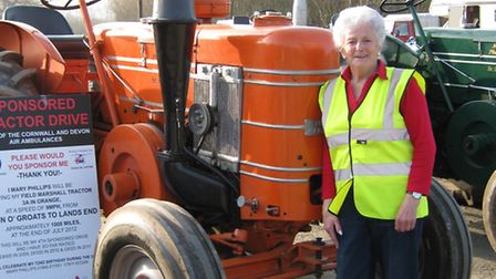 Mary Phillips with her trusty tractor at Hatherleigh Market.