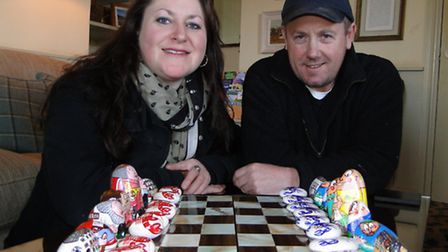 Brother and sister Rachel and Stephen Perham with the chess pieces they have painted.