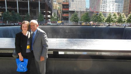 Georgina Hodgson from Chulmleigh pictured in the in the 9/11 Memorial Garden with Lee Lelpi, preside