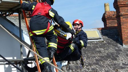 Fire crews rescued an injured man from two storey building at at Higher Gunstone in Bideford. Pic by