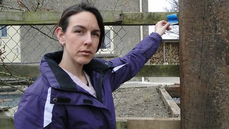 Charmaine Speed with the 'tag' she found on her front gate in Newton Tracey.