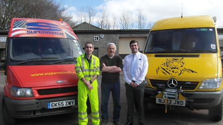 Dave Carder, pictured on Monday with Superwinch staff Phil Craze and Mark Claridge. Picture: Sue Car
