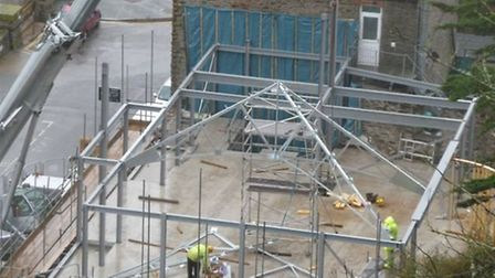 Work is well underway on the rebuilding of Lynmouth Pavilion.